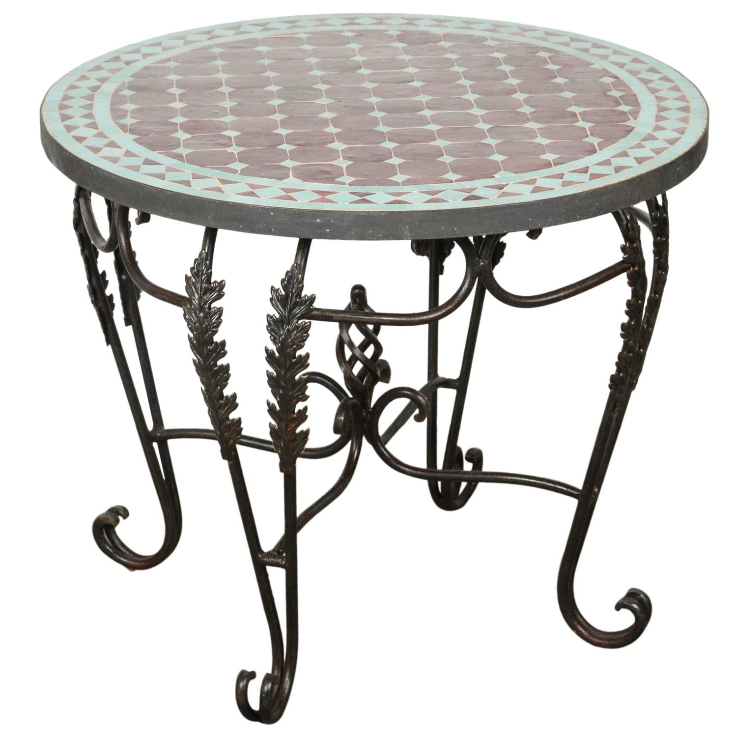 Moroccan Round Mosaic Tile Side Table For Sale At 1stdibs