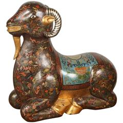 Asian Wood Hand-Painted Figure of a Recumbent Ram