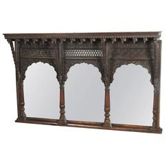 19th Century Carved Rosewood Anglo-Indian Temple Mirror