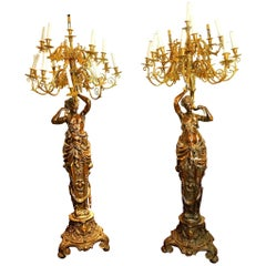 Large Pair of Gilt and Patinated Bronze Figural Torcheres