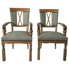 French Oak Art Deco Pair of Armchairs