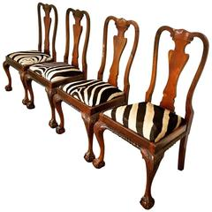 Queen Anne Style Dining Chairs, Set of Four