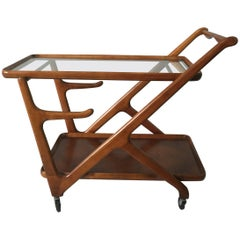 Vintage Walnut Cesare Lacca Tea Trolley Cart for Cassina