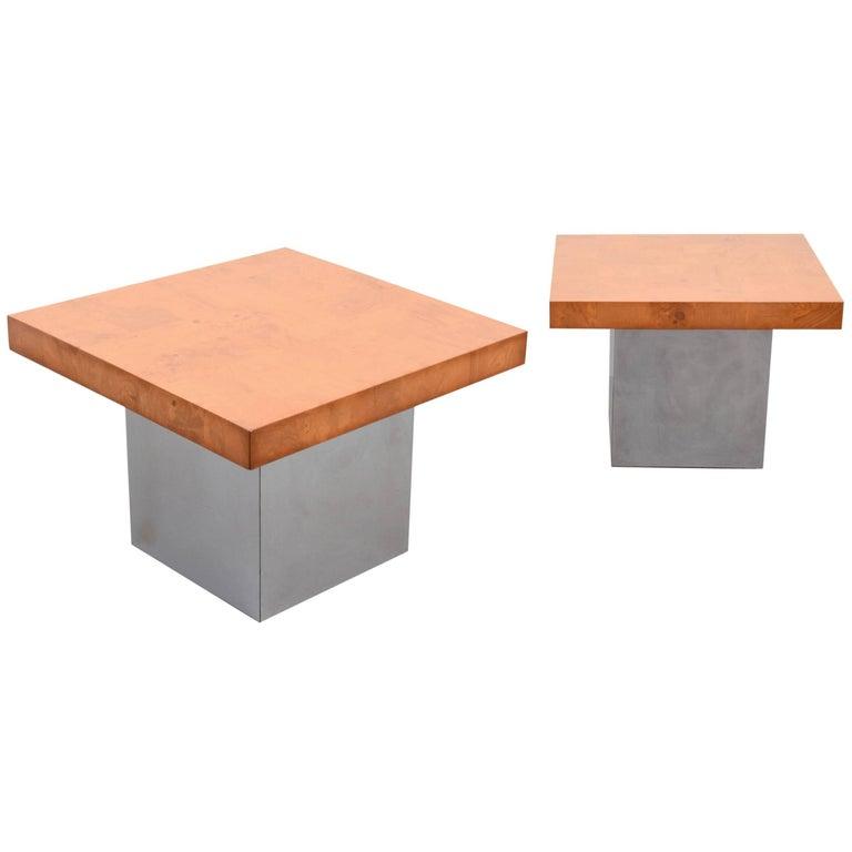 Milo Baughman Burl Wood and Chrome End Tables, USA, 1960s For Sale