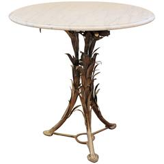Marble and Silvered Bronze Round Table Gueridon