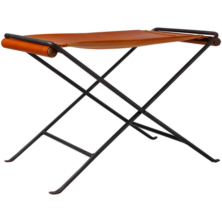 Leather and Iron Folding Stool in the style of Cleo Baldon, California, 1960s
