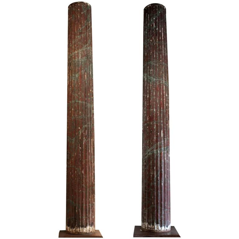 Pair of Large 10 Foot Fluted 19th Century Italian Wood Columns