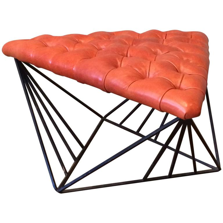 Tufted Leather Wrought Iron Geometric Ottoman For Sale