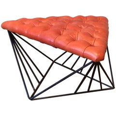 Modernist Leather And Geometric Wrought Iron Ottoman