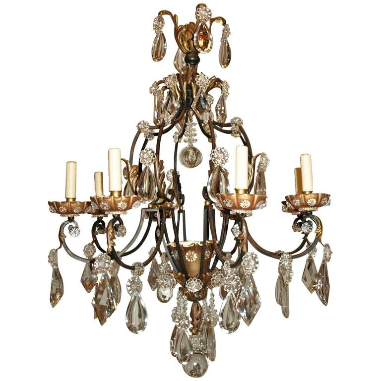 Antique Chandelier. Iron and Crystal Chandelier