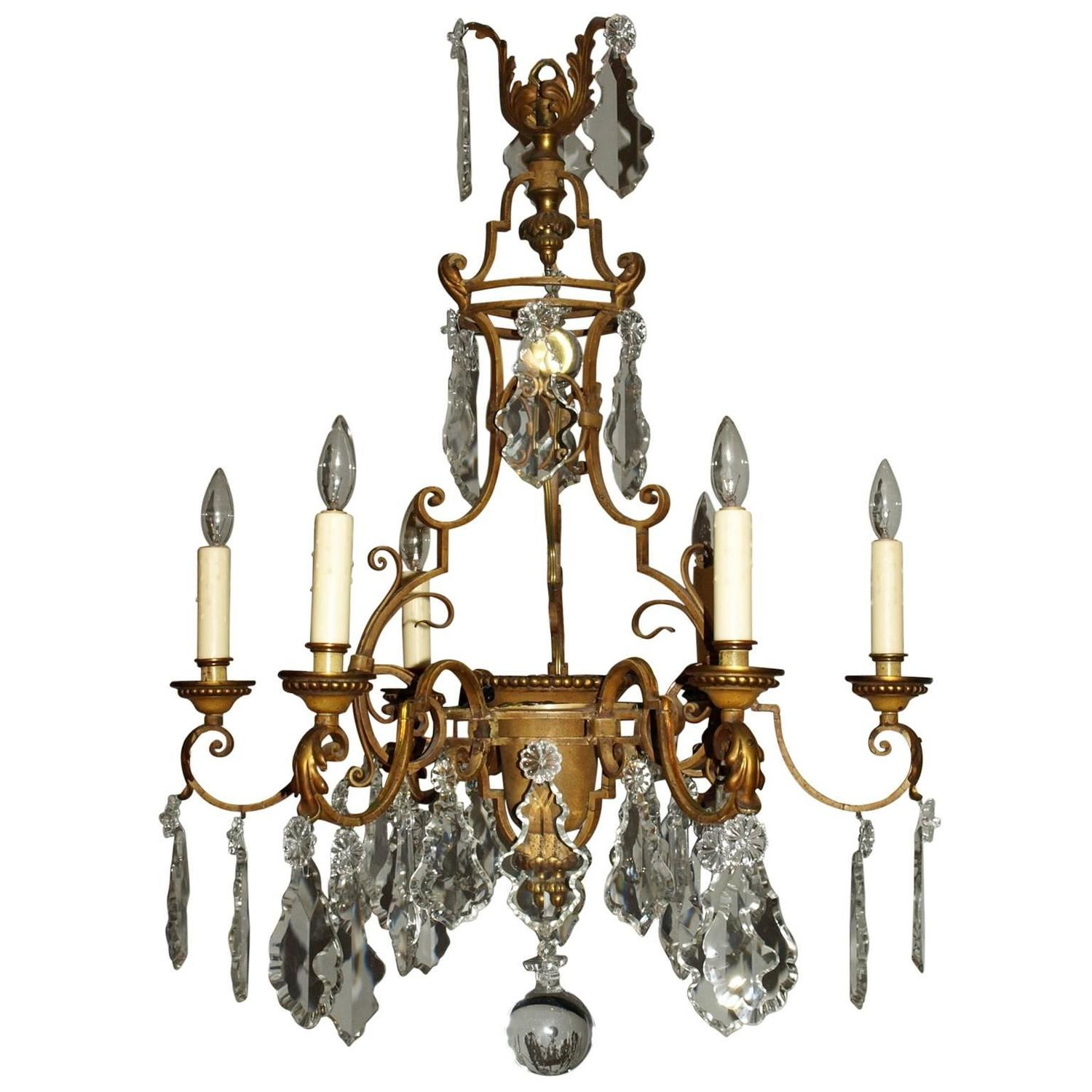 Antique Chandelier Gilt Iron Chandelier with Crystal For
