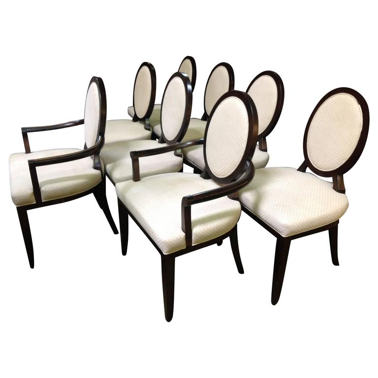 Set of Eight Barbara Barry for Baker Oval X Back Dining
