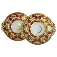 Pair of Victorian Red and Gold plates