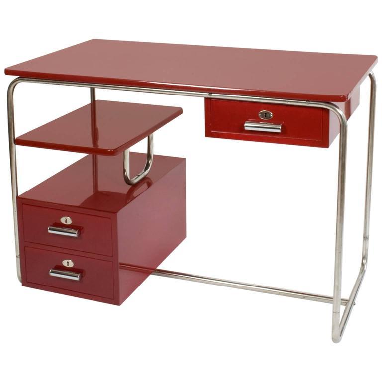 1940s Bauhaus Thonet Design Steel Tube Desk Purple Red At