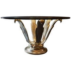White Gold Leafed Hand-Carved Table