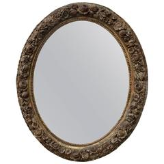 19th Century Giltwood Floral Oval Mirror