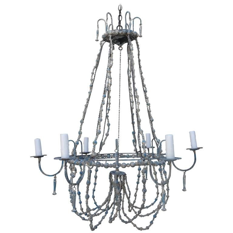 Italian Painted Beaded Chandelier 1