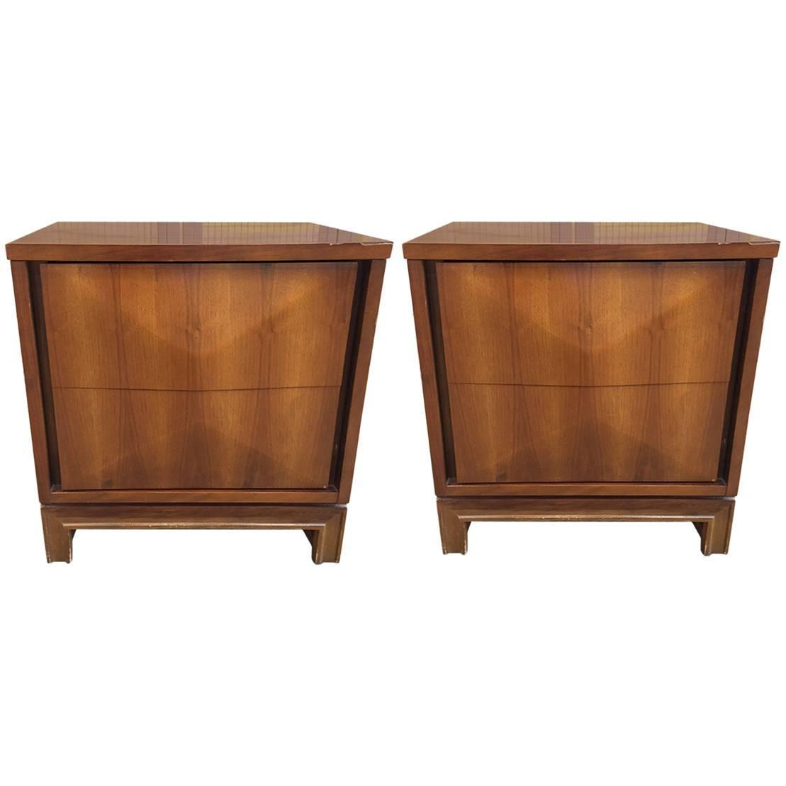 pair of midcentury modern diamond front nightstands for sale at 1stdibs