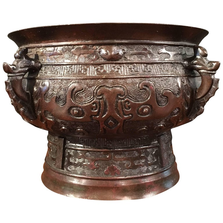 Chinese Qing Dynasty Archaistic Bronze Gui Vessel For Sale