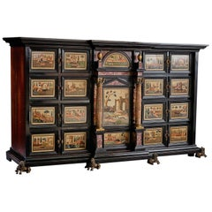 Rare and Important 17th Century Ebony and Pietra Dura Inlaid Cabinet, Florence
