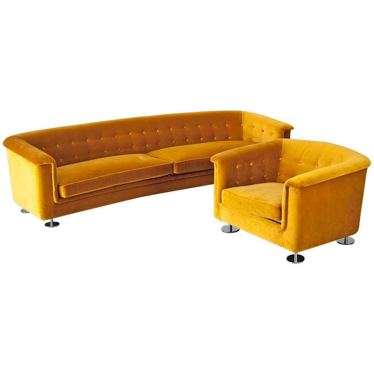Seating Group by Hans Kaufeld, Sofa and Lounge Chair in Velvet