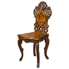 Carved and Inlaid Walnut Chair with Musical Work, Swiss, 1900