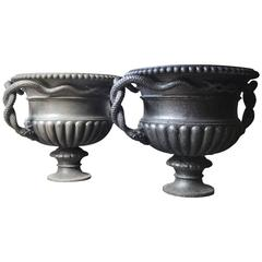 Large and Rare Pair of Cast Iron French Estate Serpent Handled Urns