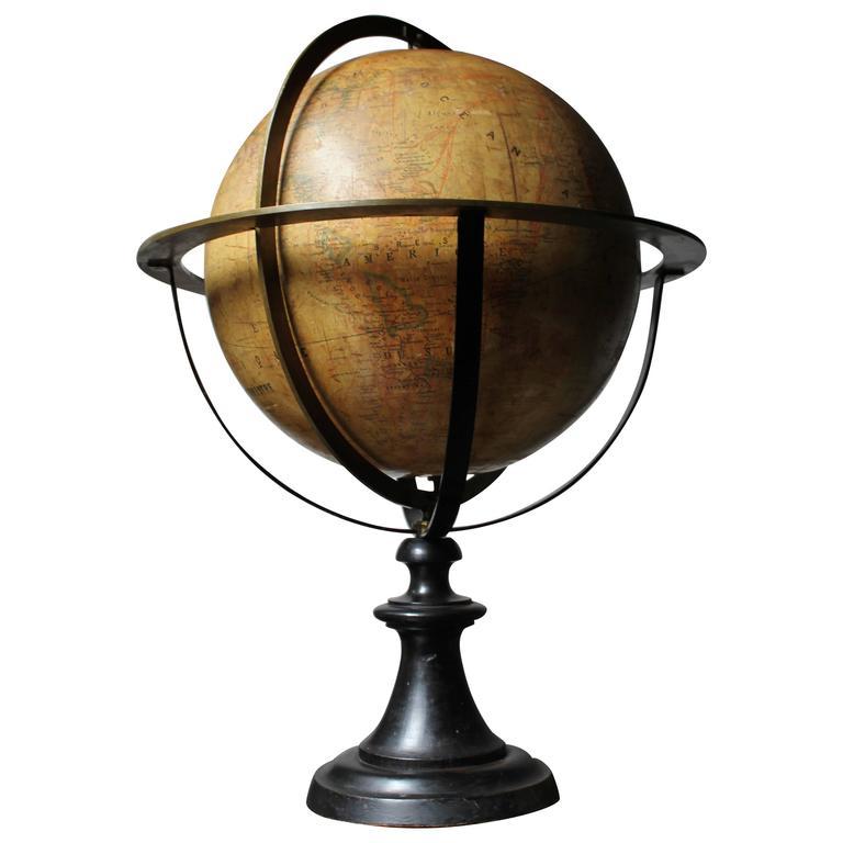 good circa 1885 french terrestrial table globe globe terrestre j forest paris at 1stdibs. Black Bedroom Furniture Sets. Home Design Ideas