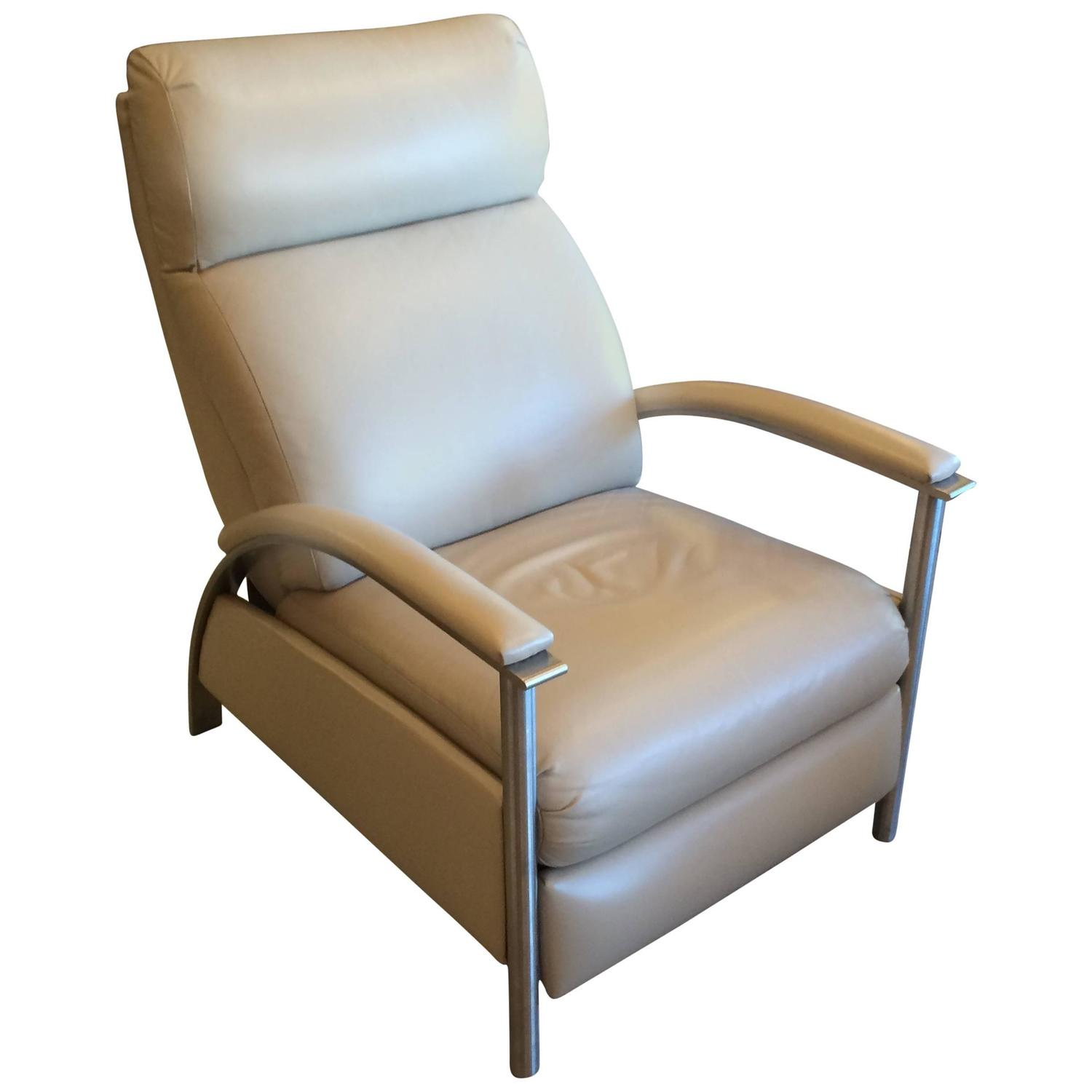 Sleek Leather Reclining Chair at 1stdibs