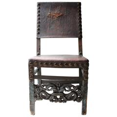 Decorative 17th Century Spanish Walnut Baroque Period Side Chair