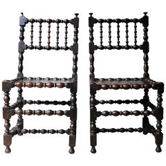 Very Good Pair of Charles II Oak Spindle Back Chairs, circa 1680