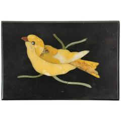 Antique Miniature Italian Pietra Dura Bird Mosiac Tile