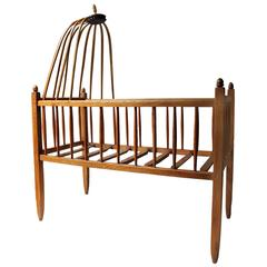 Pretty Mid-19th Century French Canopied Ash Crib