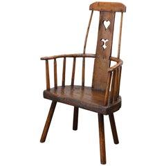 18th Century Welsh Country Folk Art Chair