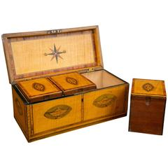 18th Century Satinwood Tea Caddy with Inlay