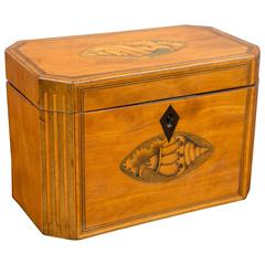Late 18th Century Octaganol Satinwood Tea Caddy with Inlay
