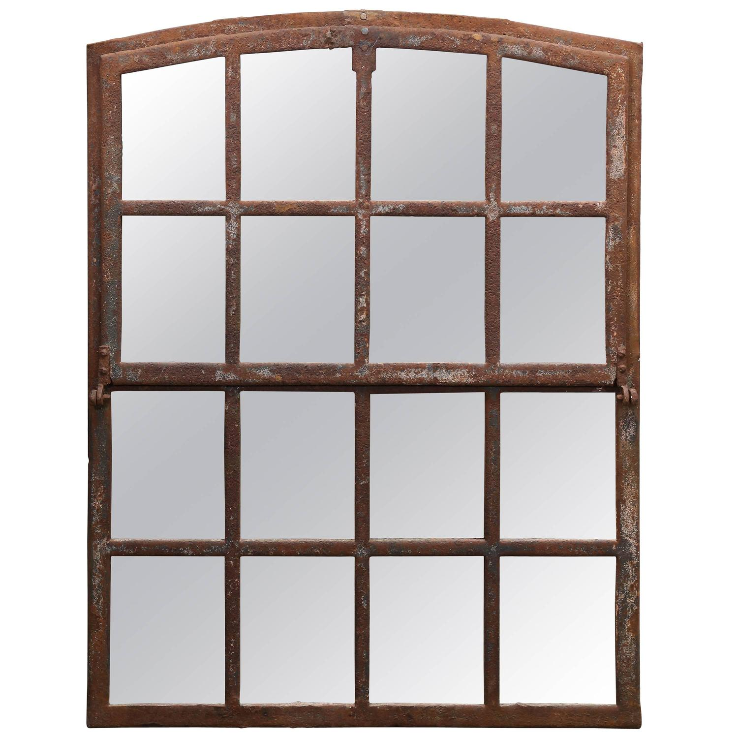 Antique 19th century industrial iron window mirror for for Window mirrors for sale