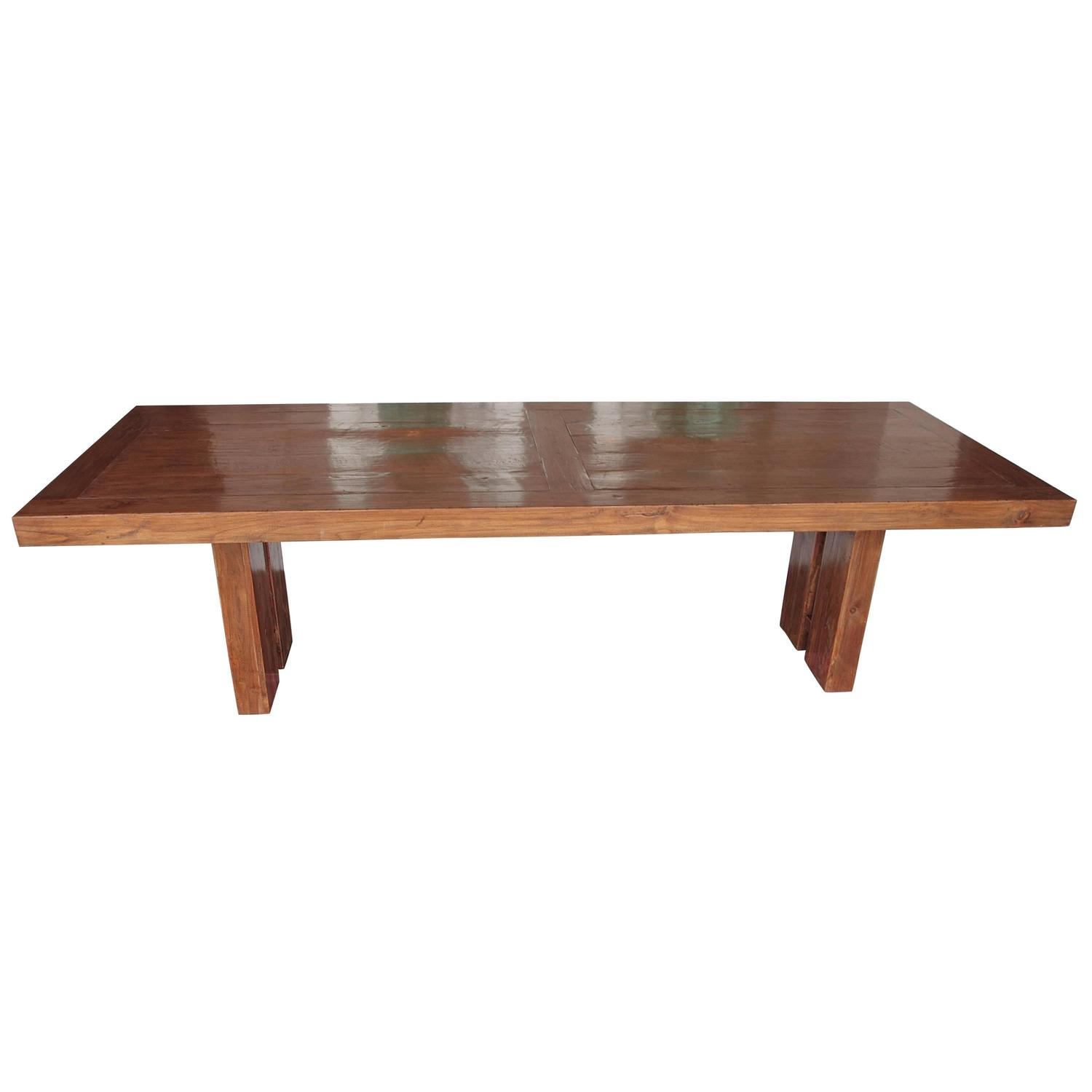 Transitional solid teak wood dining table at 1stdibs for Solid wood dining table