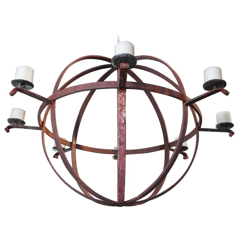 Large Industrial Orb Eight-Candle Chandelier For Sale At
