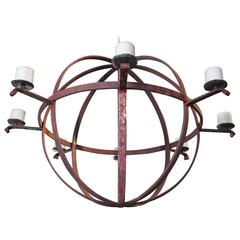 Large Industrial Orb Eight-Candle Chandelier
