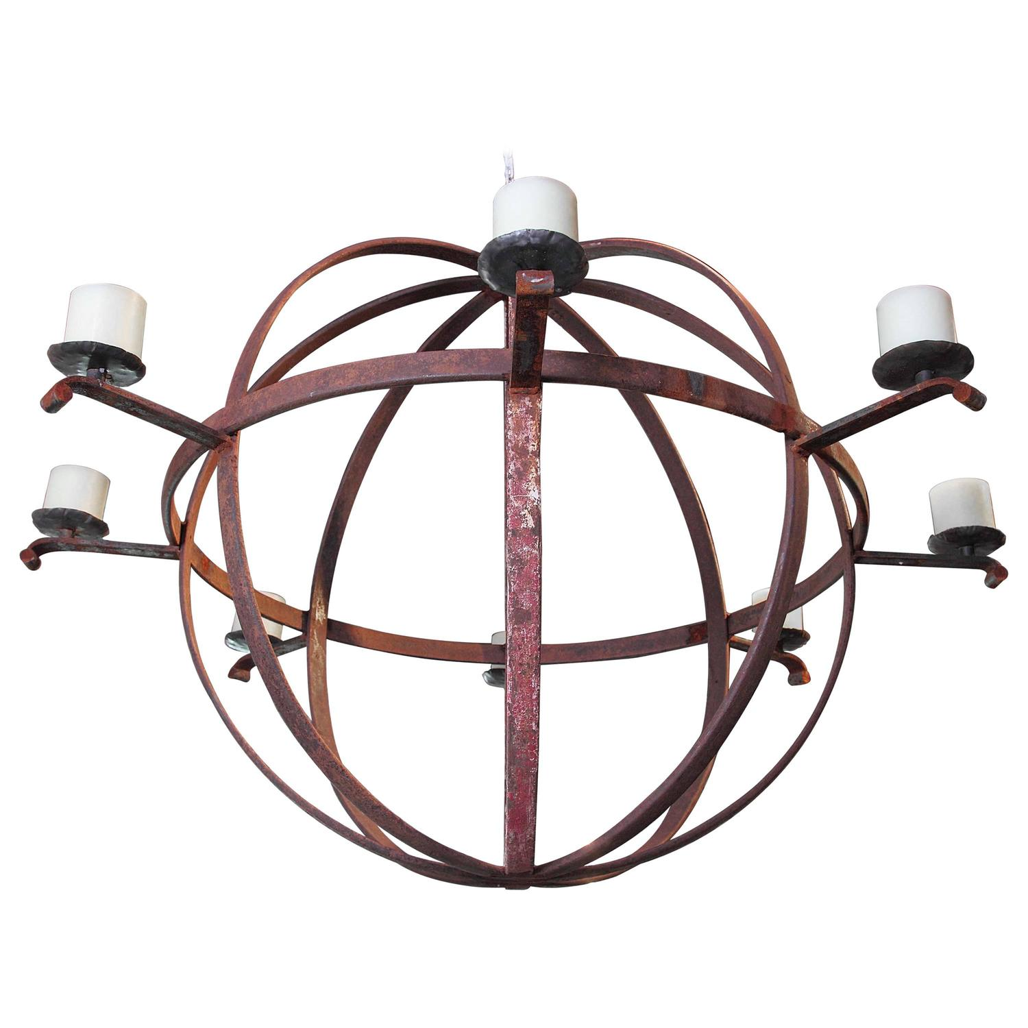 Large Industrial Orb Eight Candle Chandelier For Sale At