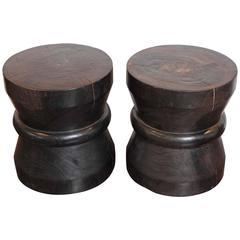 Modern Round Ebony Patina Teak Wood End Tables