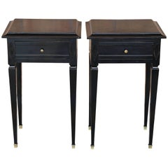 Pair of Small Federal style Black Lacquered Tables