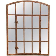 19th Century Industrial Iron Window Mirror