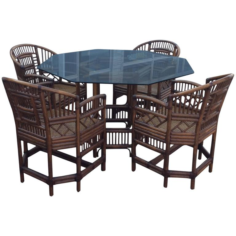 Brighton Style Rattan Dining Set Game Table Chinese Chippendale Four
