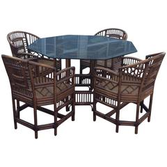 Brighton Style Rattan Dining Set Game Table Chinese Chippendale Four Chairs