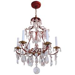 Wonderful Bagues Crystal Beaded Bow Red & Gold Gilt Pagoda Chandelier Fixture