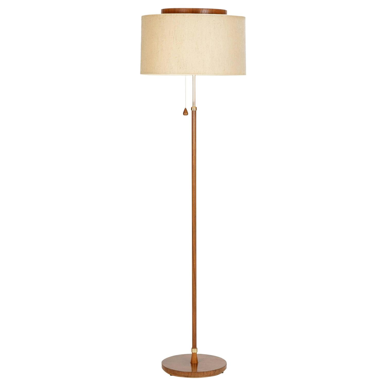 Teak floor lamp by temde leuchten 1950 for sale at 1stdibs for Milan floor lamp antique brass 165cm