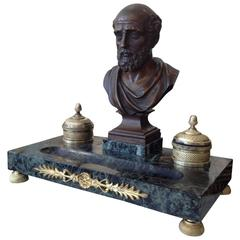 Marble Inkwell with Bronze Bust of Philosopher, Second Empire Napoléon III Era