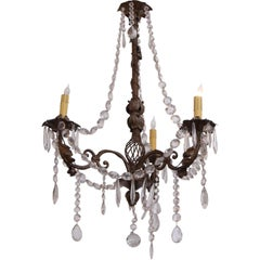 1930s Unique Three Arm Marie Theresa Bronze Floral Chandelier, Beaded Crystals